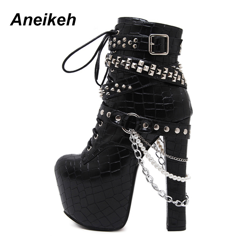 Aneikeh Zip Metal Chains Rivet Motorcycle Boots Women Shoes Super High Heels Platform Ankle Boots Punk Rock Gothic Biker Boots high heels