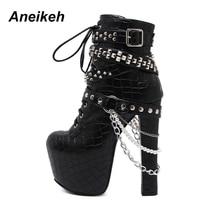 Aneikeh Zip Metal Chains Rivet Motorcycle Boots Women Shoes Super High Heels Platform Ankle Boots Punk Rock Gothic Biker Boots