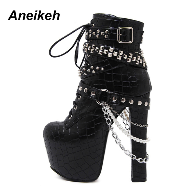 3eb699498f3 Aneikeh Zip Metal Chains Rivet Motorcycle Boots Women Shoes Super High Heels  Platform Ankle Boots Punk