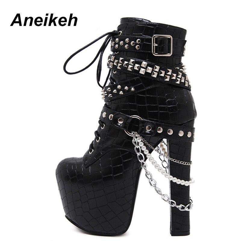 Aneikeh de cremallera de Metal cadenas remache de la motocicleta botas zapatos de mujer tacones altos botas del tobillo de la plataforma Punk Rock gótico botas