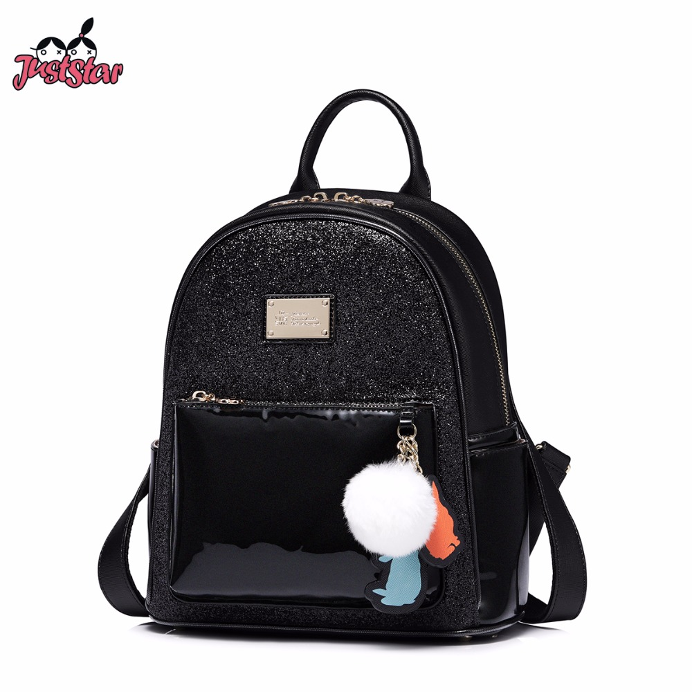JUST STAR Women's PU Leather Backpack Female Fashion Hairball Rabbit Tassel Double Shoulder Bags Ladies Leisure Travel Rucksack