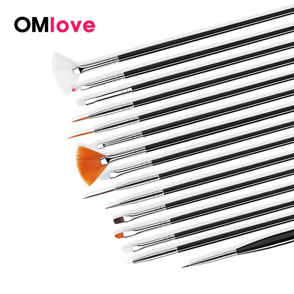 OMlove UV Gel Nail Brush Liner Painting Pen Acrylic Drawing Brush For Nails Gradient Rhinestone Handle Manicure Nail Art Tool