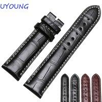 Чёрный; коричневый из крокодиловой кожи watchband18mm 19 мм 20 мм 21 мм 22 мм качество кожи мужские часы аксессуары