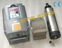 1.5KW Воздушным охлаждением шпинделя 65×205 мм ER11 & 1.5KW 220 В инвертор и 65 мм литого алюминия кронштейн
