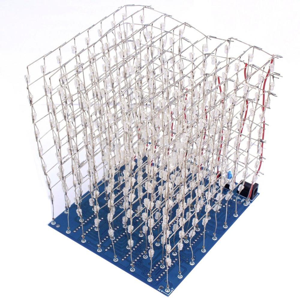 ICOCO 1PC 3D Squared DIY Kit 8x8x8 3mm LED Cube White LED Blue ...