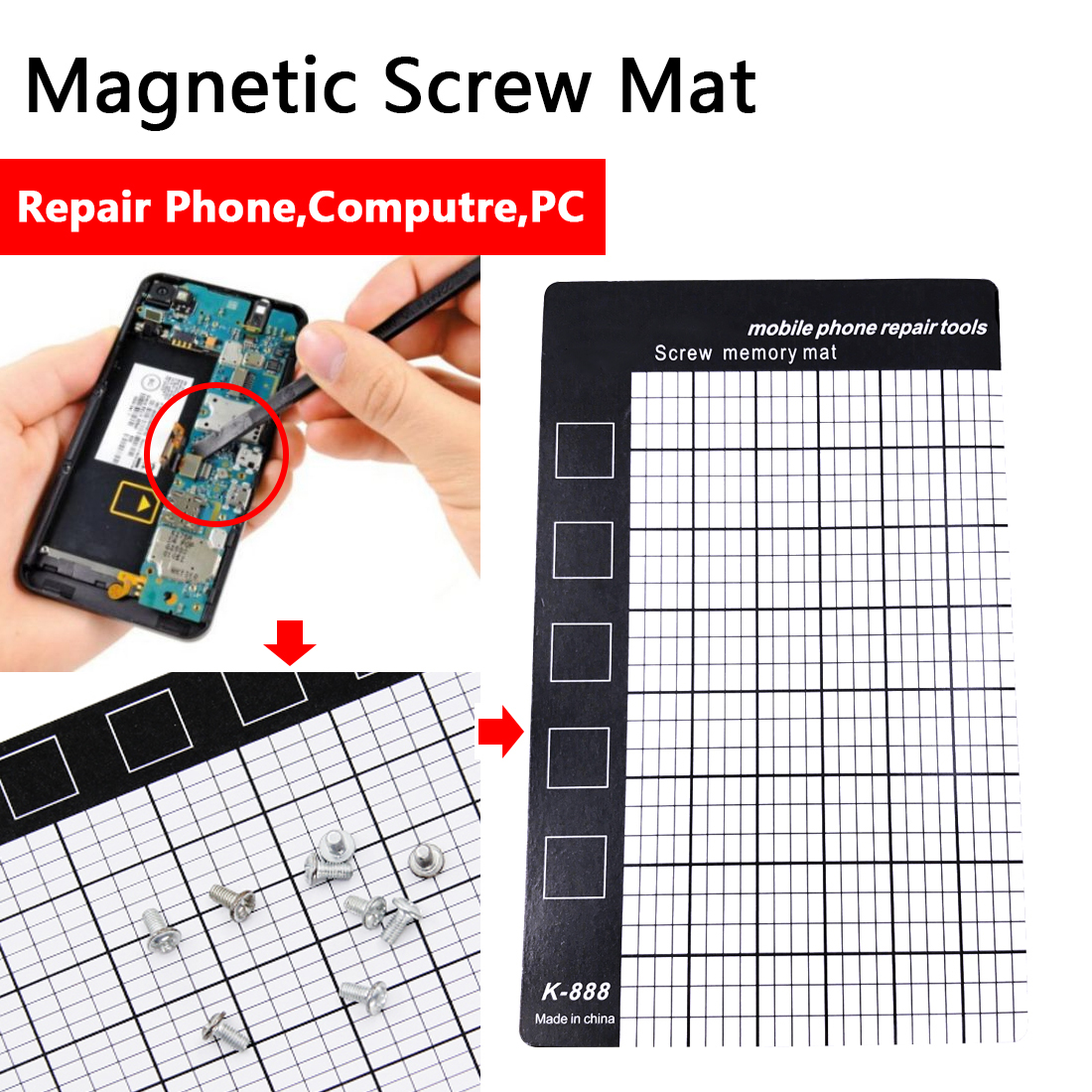 Screw Memory Mat White Magnetic Working Memory Pad Mobile Phone Repair Tools Palm Size 145 X 90mm