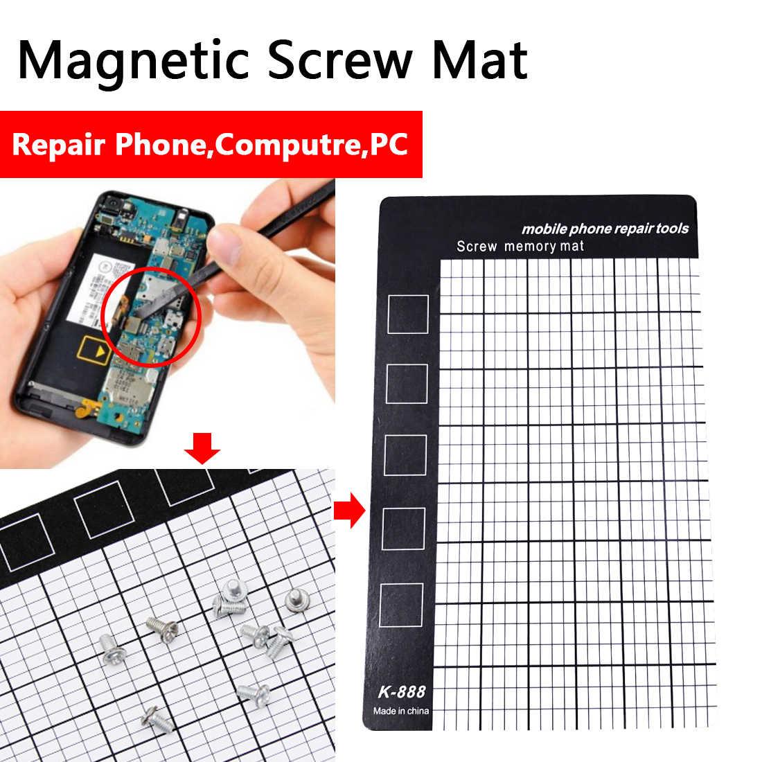 Sekrup Memori Mat Putih Magnetik Memori Kerja Pad Ponsel Alat Perbaikan Palm Ukuran 145X90 Mm