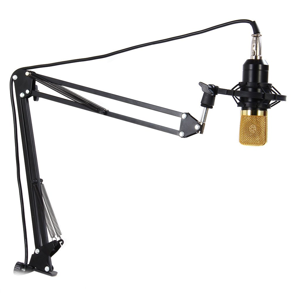 NB-35 Extendable Recording Microphone Boom Scissor Arm Stand Holder with Clip Table Mounting Clamp (Microphone Not Included)