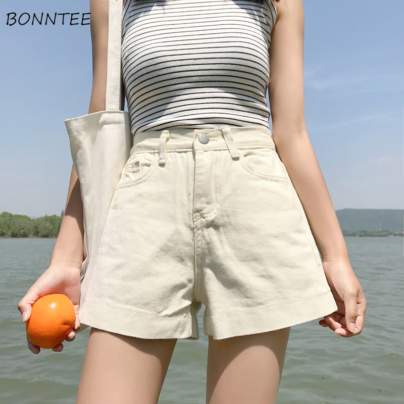 Shorts Women Solid Trendy Elegant All-match High-quality Korean Style Loose Leisure Daily Womens Female Lovely Simple 2019 Retro