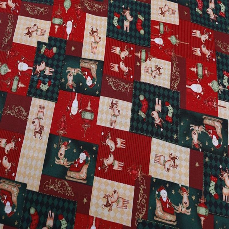 Nouvelle Arrivée! belle Carré Conception Rennes et Santa Claus De Noël X'mas Coton Tissu Pour le BRICOLAGE Couture Accueil parti décoration