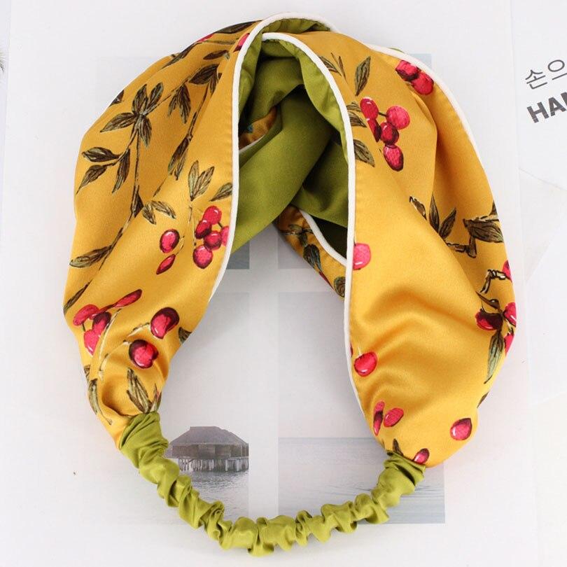 Haimeikang Printing Fruit Cross Headband For Women Lady Twisted Knotted Hairbands Elastic Turban Wide Fabric Head Hoop