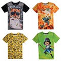 High quality big boy loose round neck short sleeve 3D cartoon cartoon personalized print pattern boy t shirt 14-20 years old