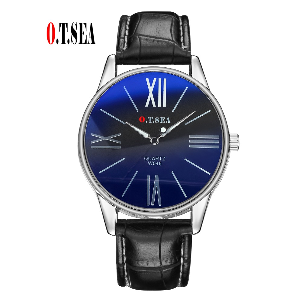 Luxury O.T.SEA Brand Faux Leather Blue Ray Glass Watch Men Military Sports Quartz Wrist Watches Relogio Masculino W046 luxury brand men watches 2016fashion faux leather men blue ray glass quartzwatches casual males business watch relogio masculino