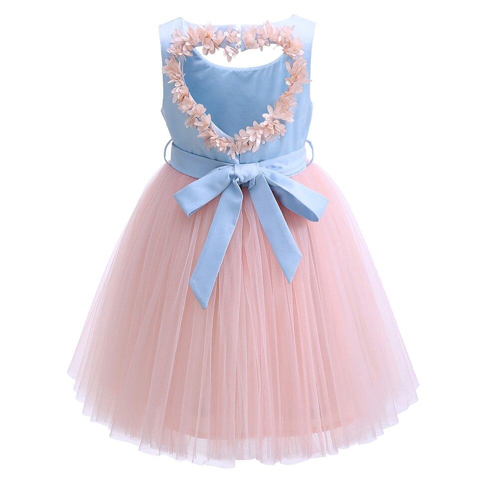 Cutestyles Blumenmädchen hochzeitskleid Blau Und Rosa Backless ...