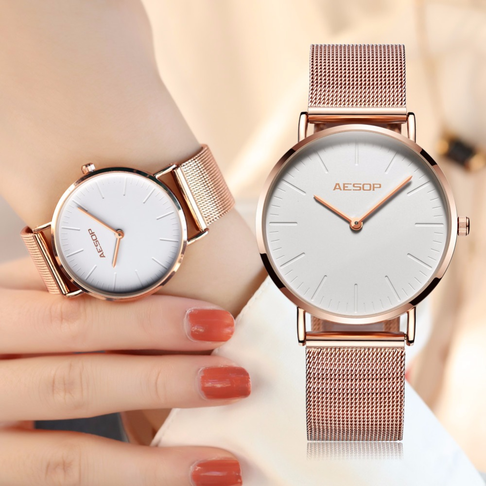 AESOP Luxury Brand Women Watches Ultra thin Fashion Gold Steel Bracelet Ladies Dress Quartz Watch relogio feminino montre femme asj brand lady bracelet watches women luxury gold fashion casual clock diamond dress quartz watch relogio feminino montre femme