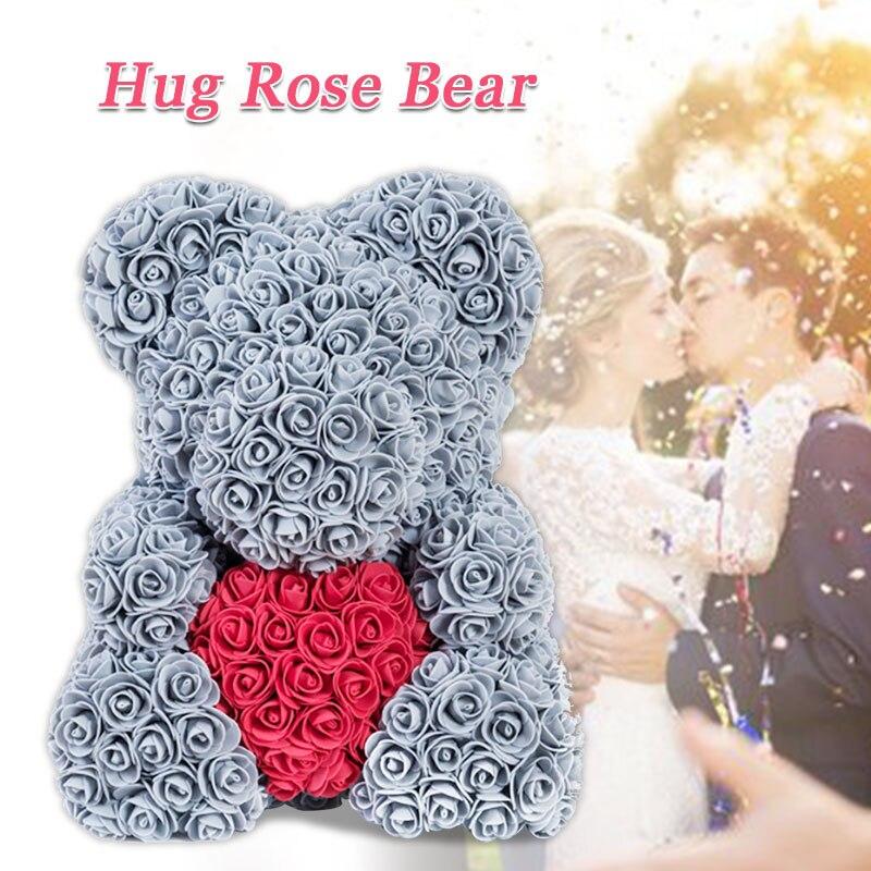Искусственные цветы розы Медведь собака кролик Мопс юбилей день Святого Валентина подарок на день рождения мать подарок Свадебная вечеринка украшение - Цвет: 40CM grey Heart Bear