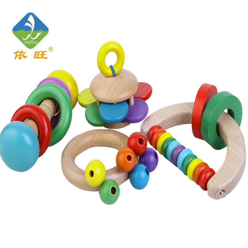 Toy Woo Wooden Colorful Shaking Bell Noise Maker Hand