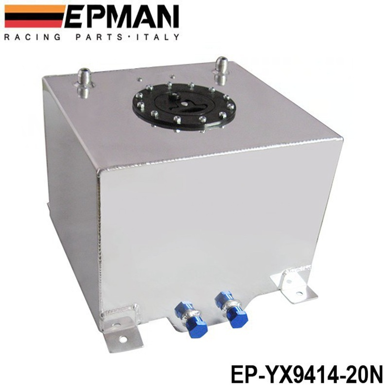 EPMAN Universal 20 Litre Fuel Surge Tank Swirl Pot System Alloy Aluminum EP-YX9414-20N epman universal aluminum water to air liquid racing intercooler core 250 x 220 x 115mm inlet outlet 3 ep sl5046c