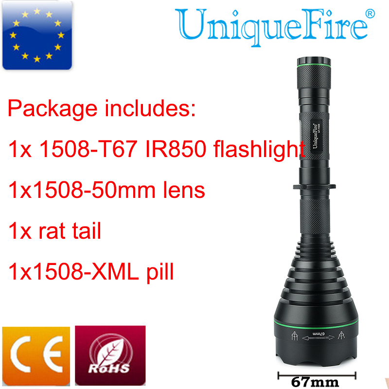 UniqueFire Multifunction LED Flashlight UF-1508 T67 IR850 LED Infrared Hunting Flashlight With A XML White Light Lamp Holder uniquefire t67 uf 1508 ir 850nm led light adjustable focus flashlight torch xre red light lamp holder perfect for night hunting