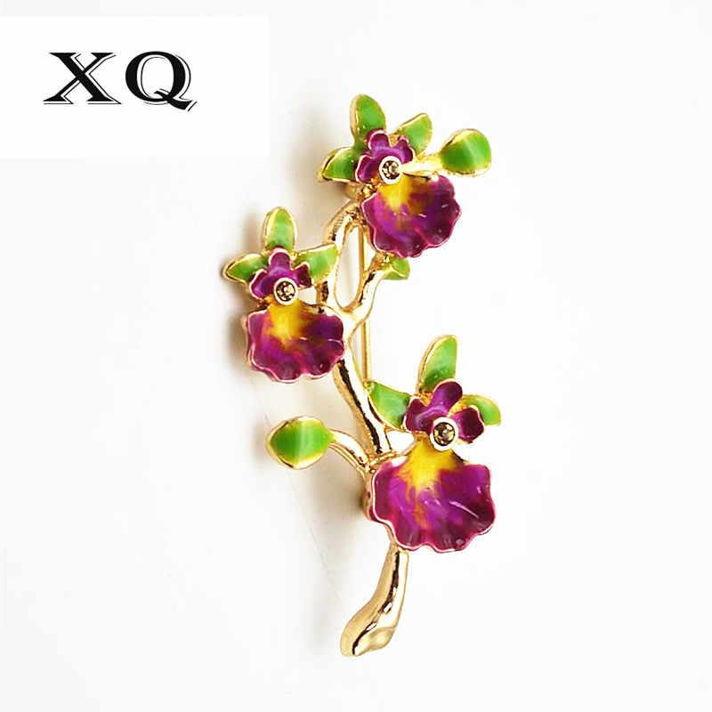Gratis pengiriman fashion wanita perhiasan indah bunga pola bentuk gadis bros plating enamel kerajinan elegan bros pins wanita