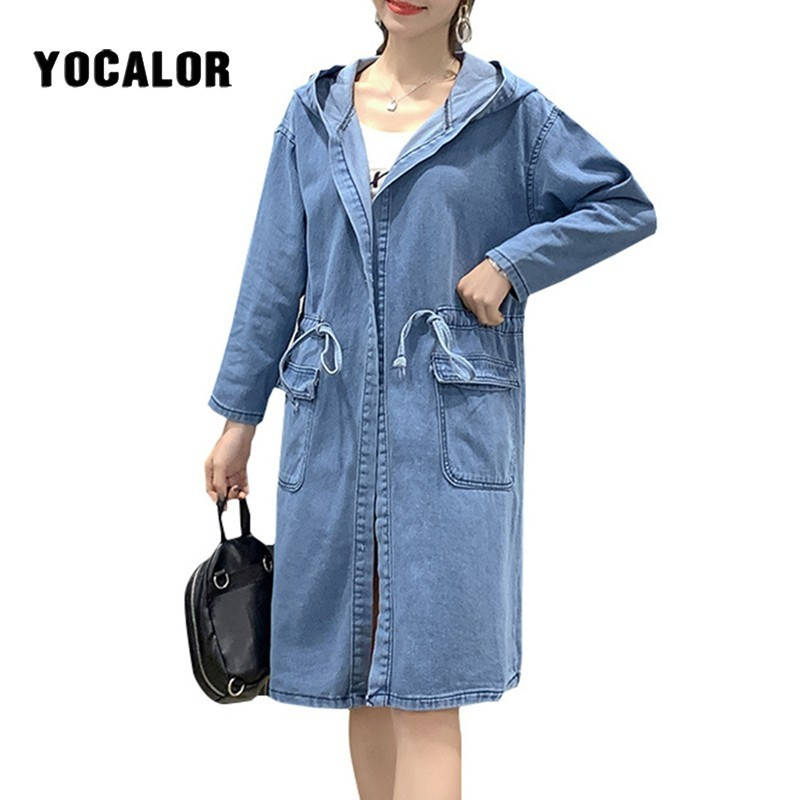 Plus Size Denim Loose   Trench   Long Female Coat Woman For Women Fashion Windbreaker Manteau Femme Hiver Clothes Tunic Overcoat