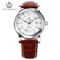 ORKINA Classical Analog Wrist Watch Men Women Date Display Casual Elegant Brown Genuine Leather Dress Elegant