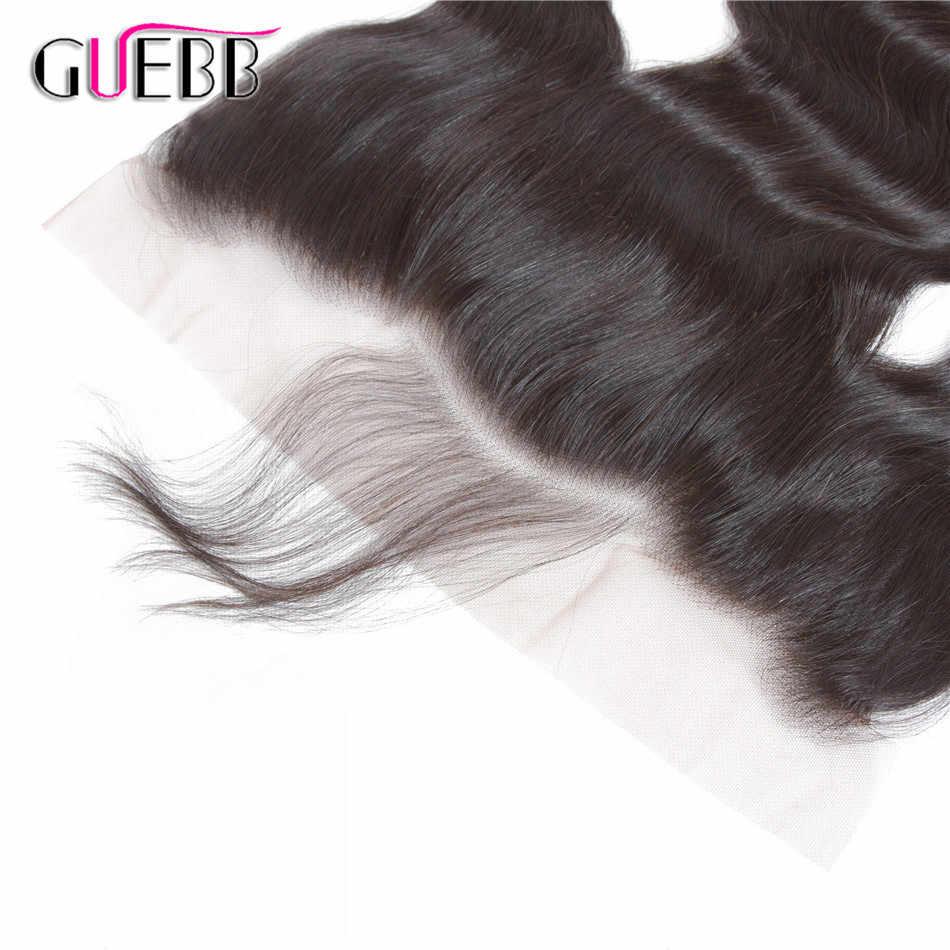 GUEBB 13*4 Кружева Фронтальная Закрытие с волосами младенца перуанские тела волна Кружева Фронтальные человеческие волосы закрытие 8-20 дюймов не реми волосы
