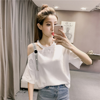 Korean Fashion Trendy Strapless Short Sleeved Women S T Shirt 2018 Youth Simple Solid Color Button