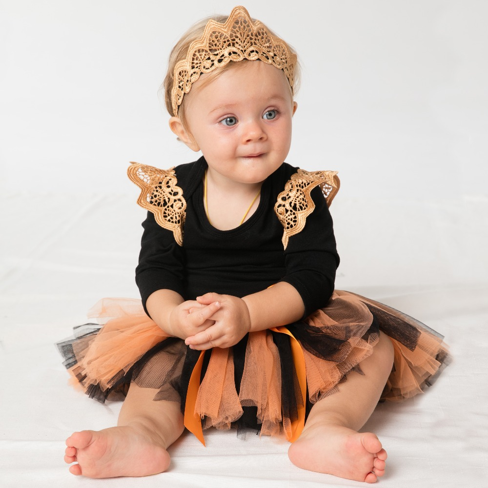 YK&Loving Embroidery Swing Romper Clothing Sets Halloween Yarn Skirts Newborn Girls Baby Outfit Hallowmas Kids Gifts Clothes