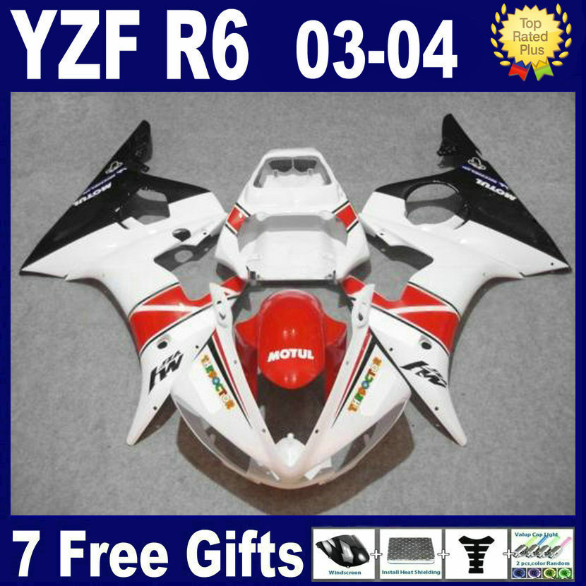 Custom ABS top Race Road motorcycle fairing kits For Yamaha YZF R6 2003 2004 2005 plastics YZFR6  04 03 red white fairings bodyk 6 colors cnc adjustable motorcycle brake clutch levers for yamaha yzf r6 yzfr6 1999 2004 2005 2016 2017 logo yzf r6 lever