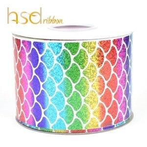 Image 2 - HSDRibbon 75MM 3 pulgadas escalas clásicas patrón holograma Arco Iris hoja de oro cinta de grosgrain estampada