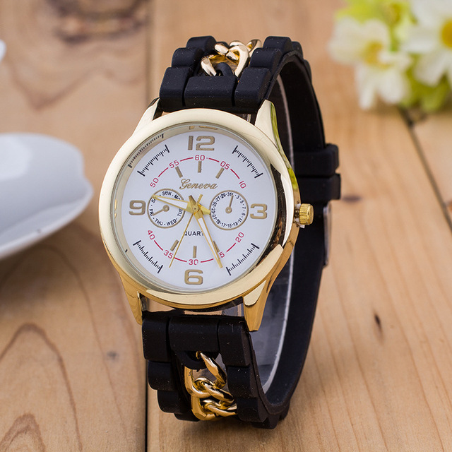 MINHIN Geneva Silicone Chain Watches Fashion Jelly Colors Quartz Wristwatches Wo