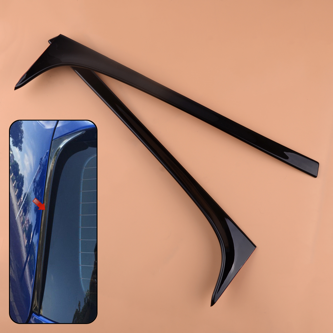 CITALL 2Pcs Black Car Rear Window Side Spoiler Wing Fit For VW <font><b>GOLF</b></font> MK7 MK7.5 <font><b>R</b></font> GTE GTD 2013 2014 2015 2016 2017 <font><b>2018</b></font> image