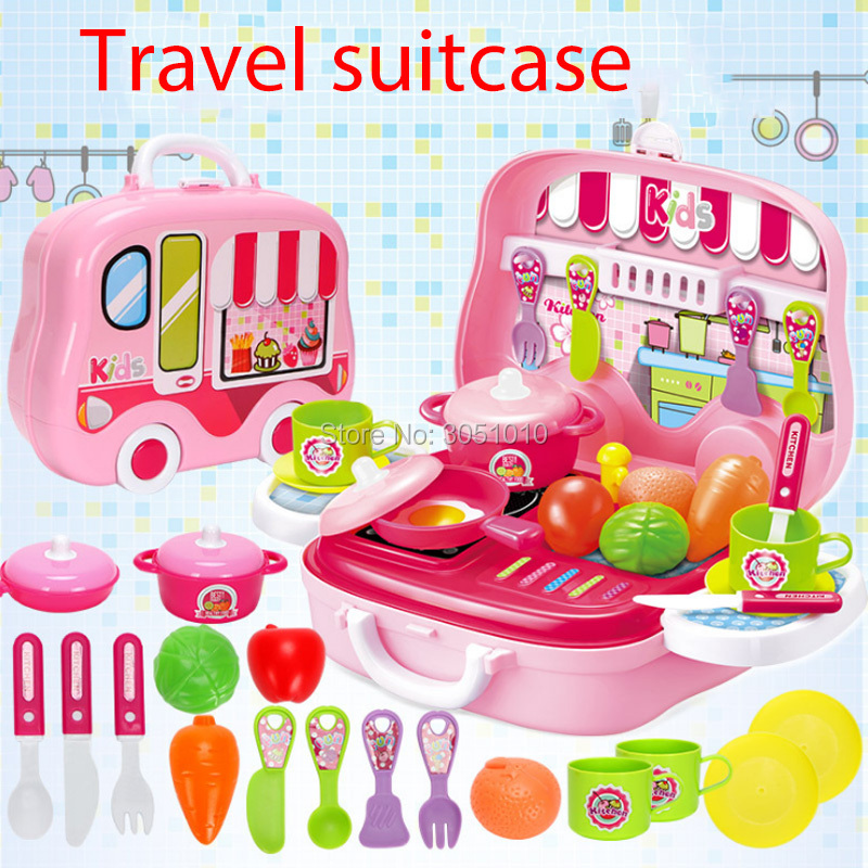 New Hot Sale Pretend Play Toy 1 Set Construction Tools Set Make Up Kitchen Toy Baby Girl Plastic Educational Portable Suitcase