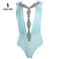 Missord 2017 Sexy Deep V Sleeveless Backless Metal Sequin Beach Bodysuit FT8151
