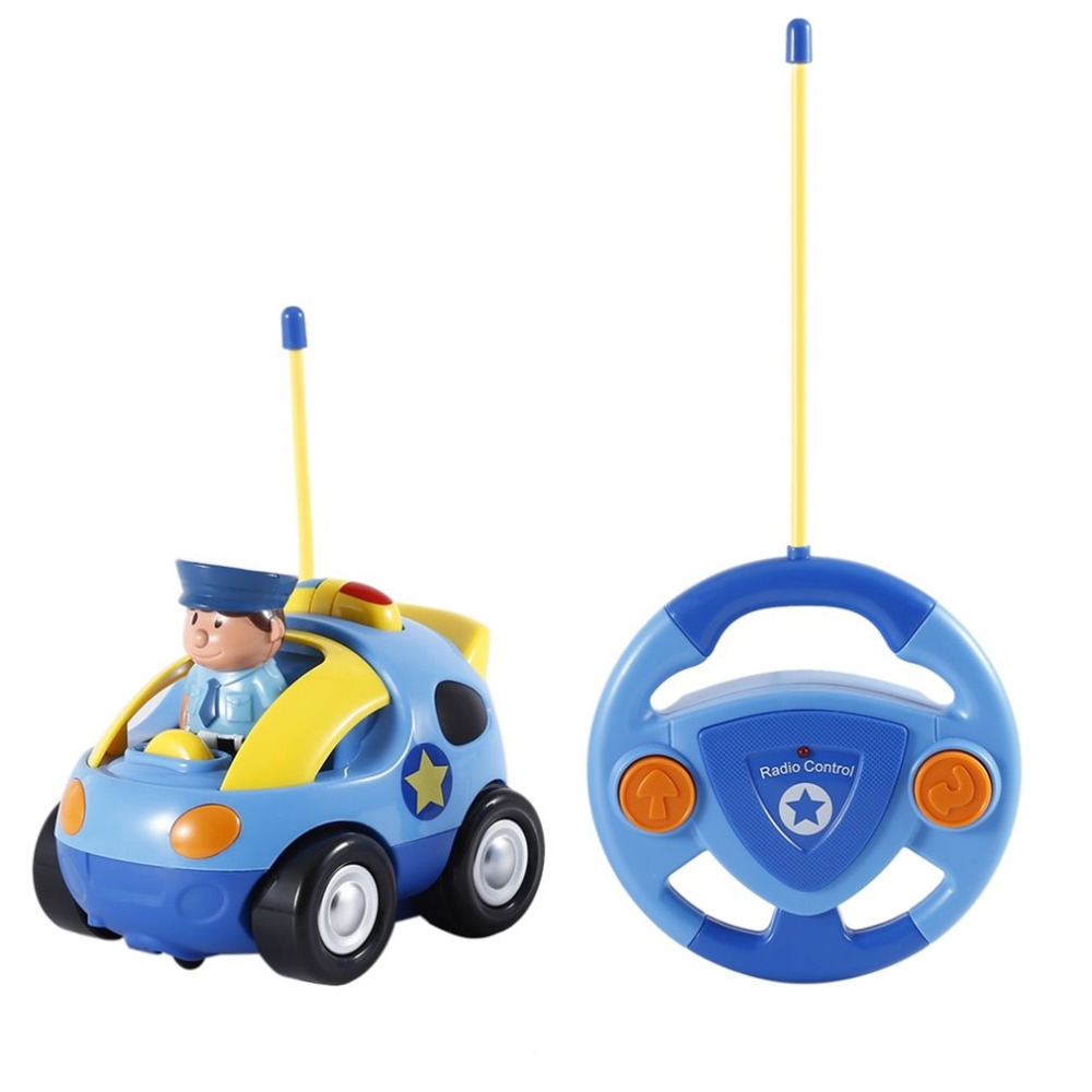 RC Car Plastic Kids Baby Toddlers Cartoon Police RC Race Car Remote Control Car Toys Kids Gifts Toys For Children Vehicle Toys