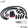 Pivot - Universal Adjustable Fuel Pressure Regulator Kits 160psi Gauge AN6 Braided Oil Hose Black+Red TK-7mgte