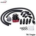 Regulador de Presión de Combustible Ajustable Universal pivote Kits 160psi Calibre TK-7mgte AN6 Manguera Trenzada De Aceite Negro + Rojo