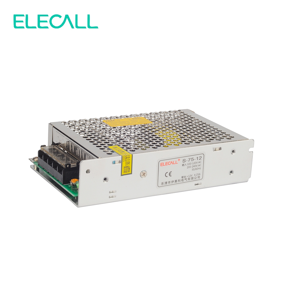 Elecall S-75-12 Output Switching Power Supply AC To DC 12V 6.3A 75W Switch Power Supply AC DC Converter meanwell 12v 75w ul certificated nes series switching power supply 85 264v ac to 12v dc