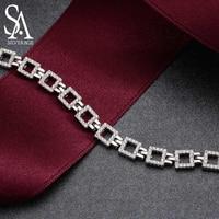 SA SILVERAGE Real 925 Sterling Silver Chain Bracelet for Women Fine Jewelry Romantic Female Wedding Crystal Bracelets 2019