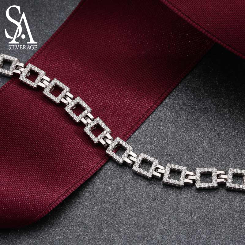 US $33 14 49% OFF|SA SILVERAGE Real 925 Sterling Silver Chain Bracelet for  Women Fine Jewelry Romantic Female Wedding Crystal Bracelets 2019-in