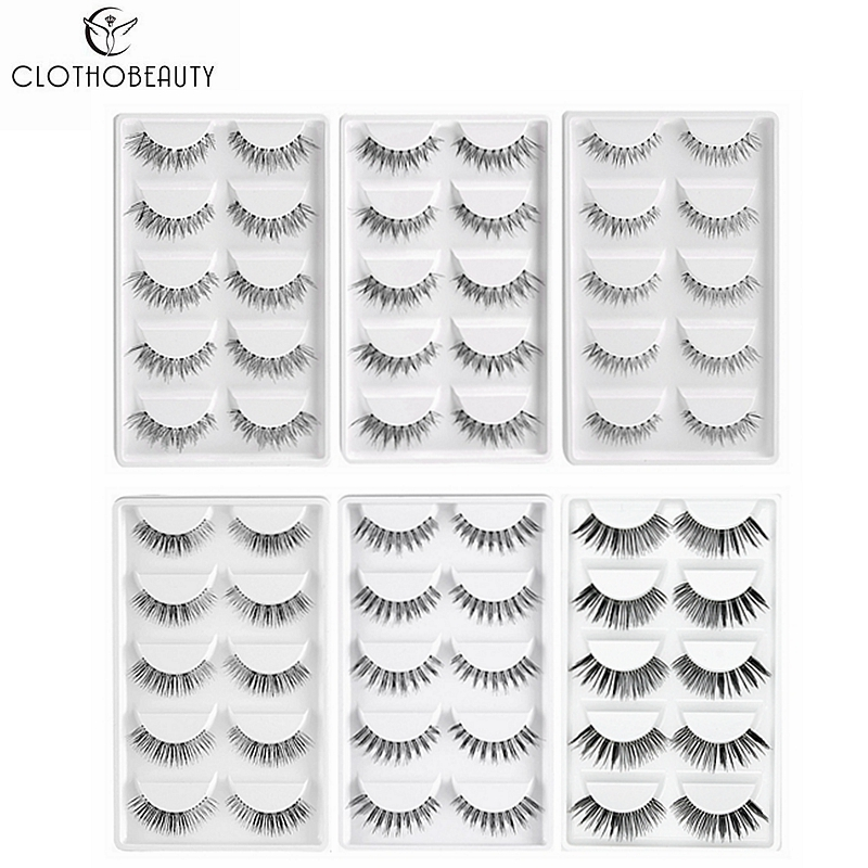 CLOTHOBEAUTY 5 Pairs False Eyelashes, Fake EyeLashes Extension Handmade Natural Soft Invisible Band,Long Thick Reusable Makeup