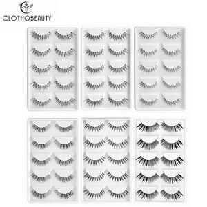 CLOTHOBEAUTY 5 Pairs False Eyelashes, Fake EyeLashes Extension Handmade Natural Soft Invisible Band,Long Thick Reusable Makeup(China)