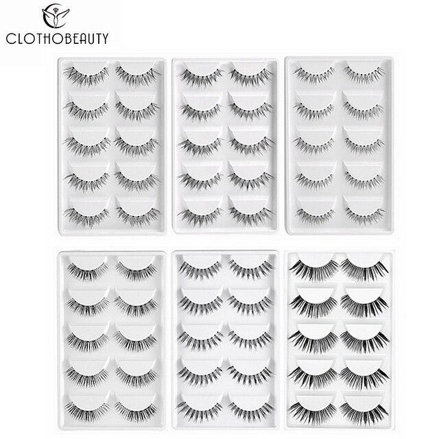 CLOTHOBEAUTY 5 Pairs False Eyelashes, Fake EyeLashes Extension Handmade Natural Soft Invisible Band,Long Thick Reusable Makeup