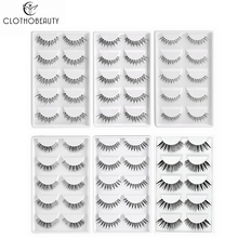 CLOTHOBEAUTY 5 Pairs False Eyelashes,Wispy EyeLashes Extension Handmade Natural Soft Invisible Band,Long Thick Reusable Makeup