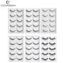 CLOTHOBEAUTY 5 Pairs False Eyelashes,Wispy EyeLashes Extension Handmade Natural Soft Invisible Band,