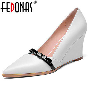 FEDONAS Fashion Elegant Bowtie Wedges High Heels Slip On Pumps Sexy Pointed Toe Party Wedding Shoes Woman Basic Pumps
