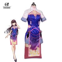 ROLECOS New Over Game Character D VA Cosplay Costumes DVA Gradient Color Cheongsam Women Costumes Chinese