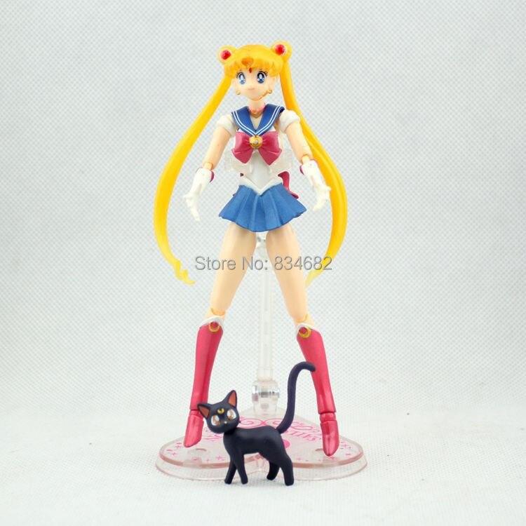 ⑦J.g envío libre 6 Sailor Moon anime Luna PVC figura de acción ...