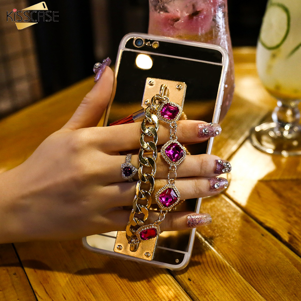 KISSCASE Mirror Phone Cases For IPhone 6 6s Plus 7 Case Luxury Bling Rhinestone Girly Bracelet